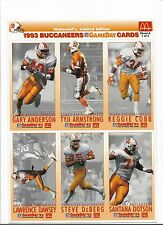 MCDONALD'S 1993 GAMEDAY CARDS Tampa Bay Buccaneers COMPLETE SET OF 18 Deberg