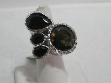 Multi-stone Paw Print Hammered Ring Size 7