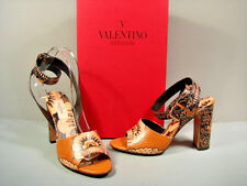 VALENTINO RUNWAY FLORAL LEATHER ANKLE STRAP SANDALS PUMPS HEELS SHOES 37/7 NEW