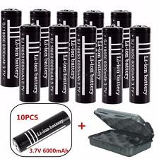 10Pcs 3.7V 18650 Li-ion 6000mAh Rechargeable Battery LED Flashlight Torch & Box