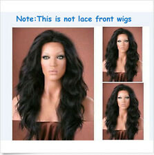 Women New Cosplay Long Wave Curly Heat Resistant Wig Black (Not lace front wig)