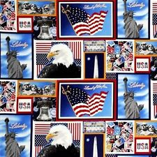 ONE NATION PATRIOTIC AMERICAN FLAG MONUMENTS LIBERTY  100% COTTON FABRIC YARDAGE