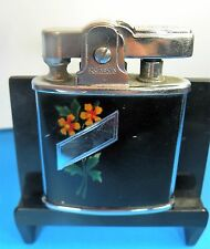 Mid Century Chrome Ronson Princess Floral Enamel Lighter No Engraving See Me