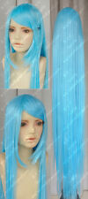 Cos 150cm light blue  Heating long straight  cosplay  WIG  +gift