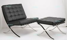 Premium Lounge Chair and Ottoman - Genuine Black Leather - Barcelona Style