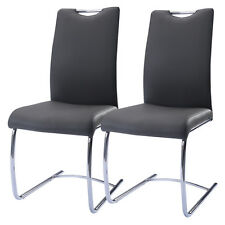 2 Pcs Black PU leather Dinging Chairs High Back Furniture Breakfast Dining Room