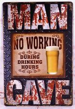 Tin Sign Man Cave Drinking Hours Bar Pub Shop Wall Decor Retro Metal Art Poster