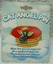 Cat Guardian Angel Pin Lapel Gold Pewter Toned Cathedral Art Camco U.S.A. SO359