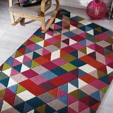 Modern Illusion Prism Pink / Multi Colour Handmade Wool Rugs 80x150cm