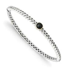 Shey Couture 925 Sterling Silver w/14k Antiqued 6mm Onyx Bangle Bracelet