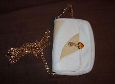Original RENATO ANGI® Mini Schultertasche Damentasche Weiß Echtleder Goldenkette
