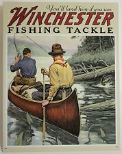 WINCHESTER FISHING TACKLE METAL SIGN Canoe Camping Fly Angling NEW Repro Vintage