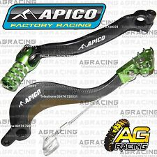 Apico Black Green Rear Brake & Gear Pedal Lever For Kawasaki KXF 250 2015 MotoX