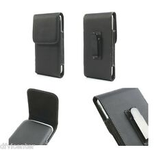 Leather flip belt clip metal case holster vertical for =  LG Optimus 3D P920