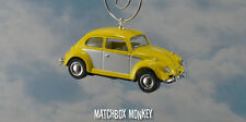 67 Classic Yellow 2 Tone Volkswagen Beetle Christmas Ornament VW Bug Herbie 1/64
