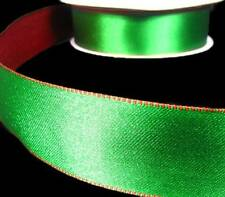 """5 Yards Christmas Green Red Reversible Double Faced Satin Wired Ribbon 1 1/2""""W"""