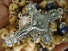 Bone Skull Beads Sterling Silver Flower Lapis lazuli Father Bead Rosary Cross