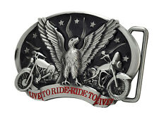 Live to Ride - Eagle with Bikes Belt Buckle Painted Metal Biker Cool Unique