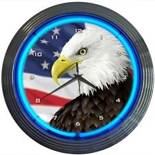 """Eagle With American Flag Neon Clock 15""""x15"""""""