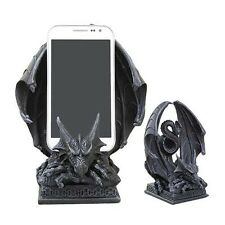 Ancient Crouching Dragon Cell Phone Figurine In Faux Stone Resin Desktop Decor