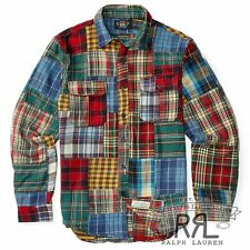 $345 RRL Ralph Lauren Vintage Inspired Rustic Patchwork Cotton Work Shirt-MEN- L