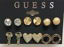 GUESS GOLD TONE SET OF 6 PAIRS,CLUSTER,BALL,KEY,HEART,DISK,STUD EARRINGS V29787