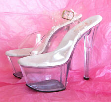 PLEASER Shoes SKY 308 Platform ANKLE STRAP SANDAL Clear/Clear sz 8 Prom/Sexy