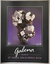 Original 1989 Tucson Gem & Mineral Show Poster GALENA Signed by Chip Clark