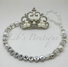 Bling-Diamante Pearl-Romany-princess Crown Dummy Clip