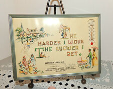 NEW OLD STOCK 1973 FLETCHER GLASS CO. FRAMED~CALENDAR~THERMOMETER~VINTAGE SCENE