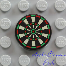 NEW Lego Minifig DART BOARD 2x2 Round Black Printed Tile - Minifigure Toy Game