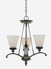 Neo Silver And Opal Etched Glass 3 Light Chandelier