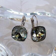 Gray Black Leverback Drop Earrings made with Cushion Cut Swarovski Crystal