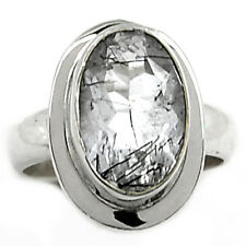Tourmalated Quartz (Black Rutile) 925 Sterling Silver Ring Jewelry s.6 BRFR282