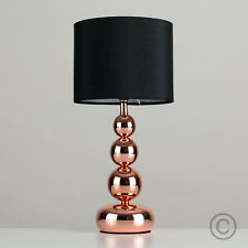 Modern Industrial Style Copper Touch Lamp Bedside Table Light Black Lampshade