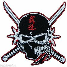Ninja Samurai Martial Arts Sword Skull Shuriken Motorcycles Iron on Patch #0903