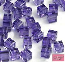 10 Swarovski Crystal Cube 4mm Purple Bead Tanzanite 5601 AMAZING VALUE! 30p EACH