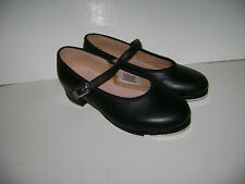 BLOCH TECHNO TAP DANCE GIRLS MARY JANES SHOES size 11 BLACK LEATHER 3-5 YEARSOLD
