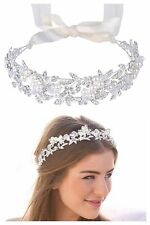 Bridal Wedding Tiara, Crystal Ivory Pearls, Ribbon With Tiara Box