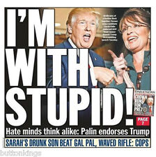 FEEL THE BERN DONALD TRUMP SARAH PALIN I'M WITH STUPID METAL FRIDGE MAGNET #0214