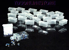 "Rectangle Clear Plastic Storage Tubes With Flip Tops 1.25"" Pack of 100"