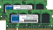 512MB (2 x 256MB) DDR2 400/533/667MHz 200-PIN SODIMM MEMORY KIT FOR LAPTOPS