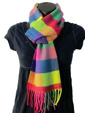 Women's Rainbow Colorful Multicolor Cashmere Feel Large Plaid Check Soft Scarf