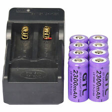 8x CR123A 16340 123A 3.7V 2300mAh Purple GTL Rechargeable Battery + GTL Charger