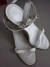 TODS High Heel Sandals White Ankle Straps Sz 10.5 see measurements Rt $395
