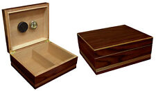 NEW DUKE - 50 COUNT CIGAR HUMIDOR BOX W/HUMIDIFIER & HYGROMETER - RICH ALMOND