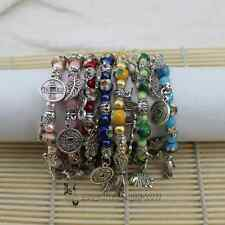 Wholesal12 Pcs Chinese Handmade Cloisonne &Tibetan Silver Bracelets With Charms