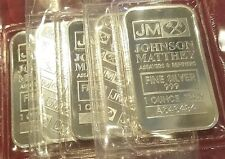 JOHNSON MATTHEY 5.0 OZ .999 PURE SILVER BARS (QTY 5 - 1 OZ BARS) FACTORY SEALED!