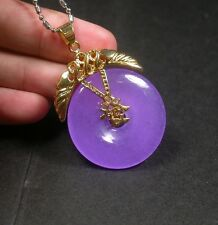 Gold Plate CHINESE Icy Lavender JADE Pendant *Fa* Circle Donut Necklace 253726
