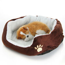 Pet Dog Cat Soft Fleece Bed Kennel Cozy Nest Pad Medium Washable Coffee